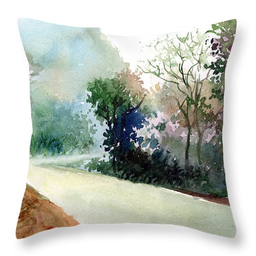 Landscape Water Color Nature Greenery Light Pathway Throw Pillow featuring the painting Turn Right by Anil Nene