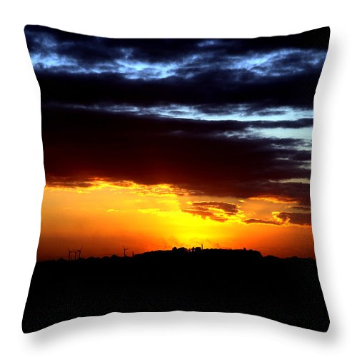 Wind Farm Throw Pillow featuring the photograph Turning In by Low Light Images
