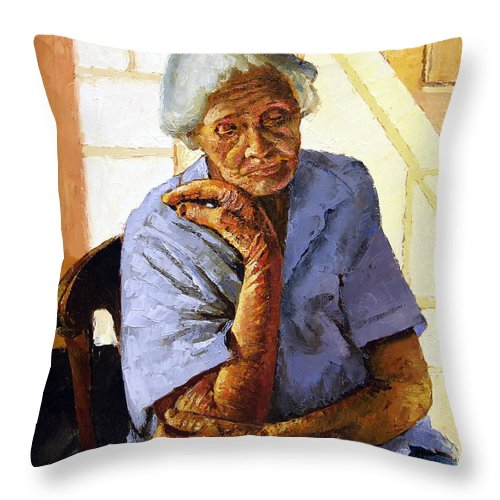 Old Woman Throw Pillow featuring the painting Turning Inward by John Lautermilch