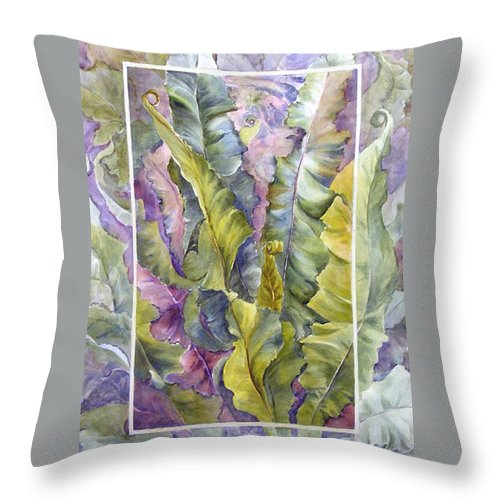 Ferns;floral; Throw Pillow featuring the painting Turns Of Ferns by Lois Mountz