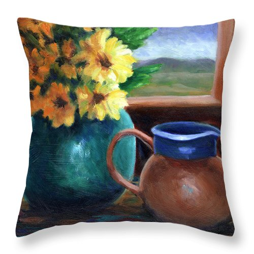 Flowers Throw Pillow featuring the painting Turquoise And Gold by Linda Hiller
