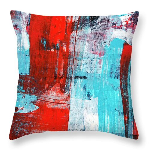 Turquoise And Red Abstract Painting Throw Pillow for Sale
