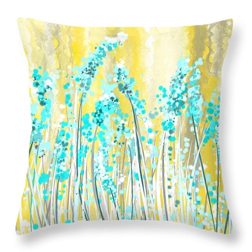 Turquoise And Yellow Throw Pillow for Sale by Lourry Legarde