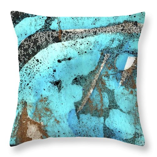Turquoise Gold Pond 1 - Original Wax Encaustic Painting - Abstract Painting - Elizabethafox - Small Painting Throw Pillow featuring the painting Turquoise Gold Pond 1 by Elizabetha Fox