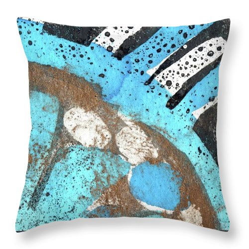 Turquoise Gold Pond 2 - Original Wax Encaustic Painting - Abstract Painting - Elizabethafox - Small Painting Throw Pillow featuring the painting Turquoise Gold Pond 2 by Elizabetha Fox