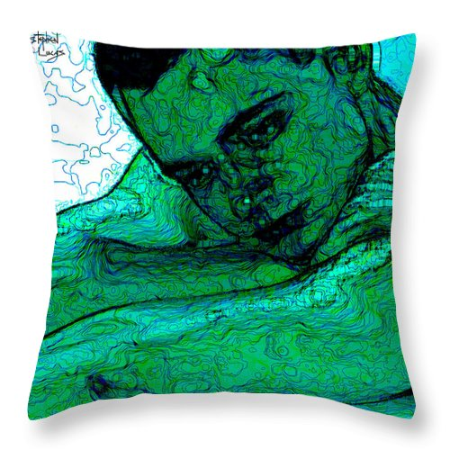 Abstract Throw Pillow featuring the digital art Turquoise Man by Stephen Lucas