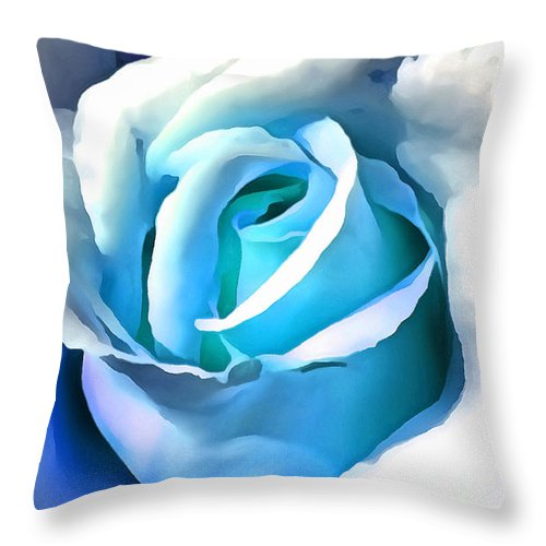 Rose Throw Pillow featuring the digital art Turquoise Rose by Ruth Moratz