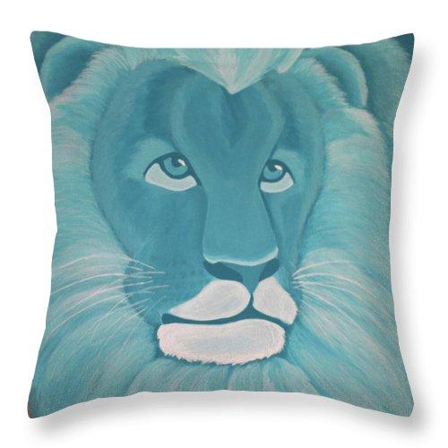Turquoise Lion Throw Pillow