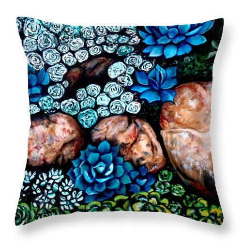 Oil Throw Pillow featuring the painting Turquoise Stone by Elizabeth Robinette Tyndall