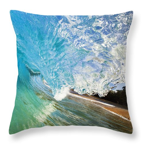 Aqua Throw Pillow featuring the photograph Turquoise Wave Tube by MakenaStockMedia