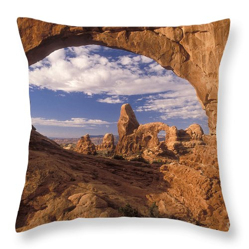 Turret Arch Throw Pillow featuring the photograph Turret Arch And North Window by Sandra Bronstein