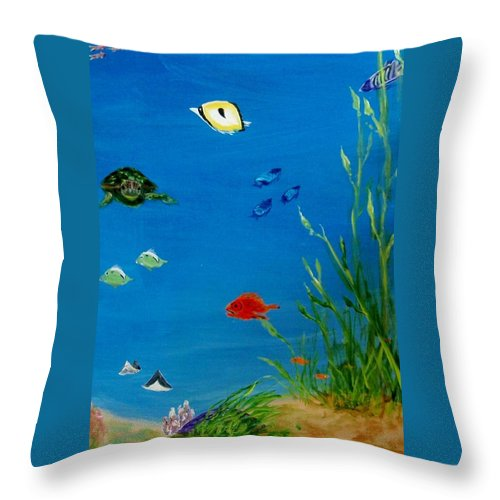 Water Throw Pillow featuring the painting Turtle And Friends by Jamie Frier