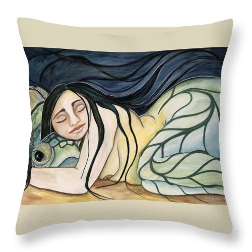 Woman Throw Pillow featuring the painting Turtle Daughter by Kimberly Kirk
