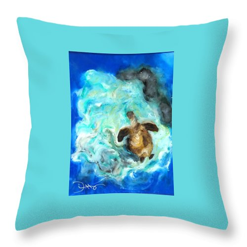 Sea Throw Pillow featuring the painting Turtle In Blue by Chris Ditto
