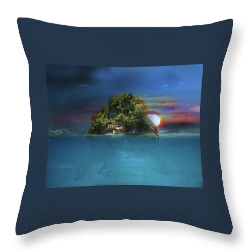 Turtle Throw Pillow featuring the digital art Turtle Island by Joseph Jones