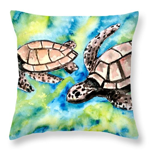 Love Throw Pillow featuring the painting Turtle Love Pair Of Sea Turtles by Derek Mccrea
