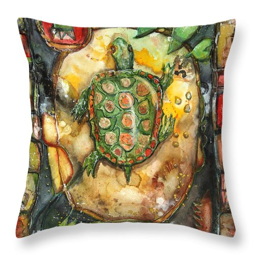 Art Throw Pillow featuring the painting Turtle by Patricia Allingham Carlson