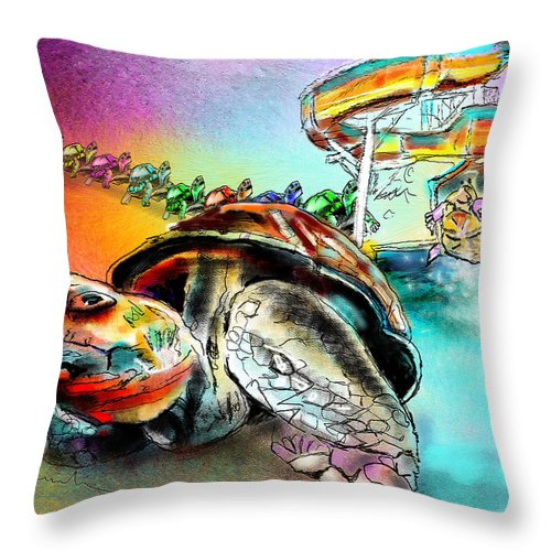 Turtle Throw Pillow featuring the painting Turtle Slide by Miki De Goodaboom