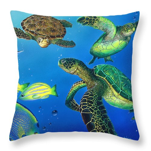 Turtle Throw Pillow featuring the painting Turtle Towne by Angie Hamlin