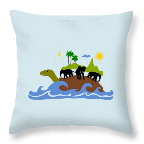 Expression Throw Pillow featuring the mixed media Turtles All The Way Down by Anastasiya Malakhova