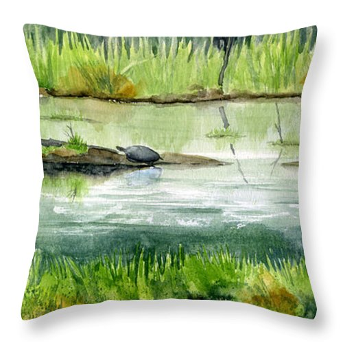 Turtle Throw Pillow featuring the painting Turtles by Mary Tuomi