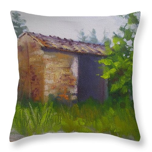 Rural Painting Throw Pillow featuring the painting Tuscan Abandoned Farm Shed by Chris Hobel