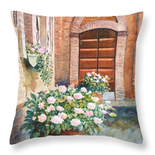 Tuscan Throw Pillow featuring the painting Tuscan Courtyard by Ann Cockerill
