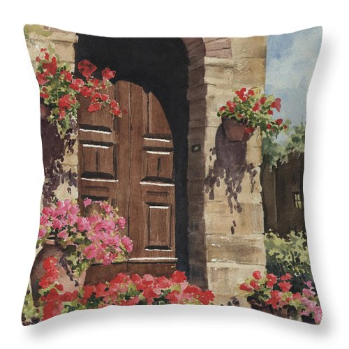 Flowers Throw Pillow featuring the painting Tuscan Door by Sam Sidders