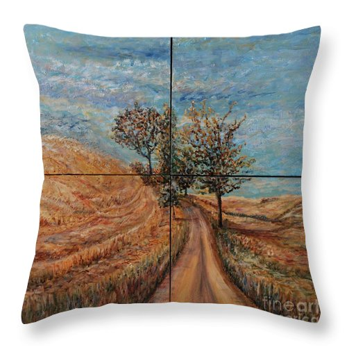 Landscape Throw Pillow featuring the painting Tuscan Journey by Nadine Rippelmeyer