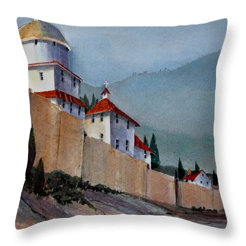 Tuscan Throw Pillow featuring the painting Tuscan Lane by Charles Rowland