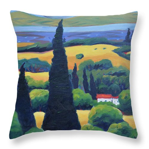 Tuscany Throw Pillow featuring the painting Tuscan Pines And South Bay by Gary Coleman