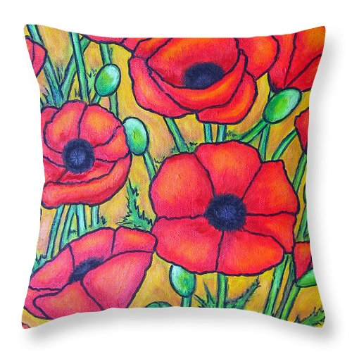 Poppies Throw Pillow featuring the painting Tuscan Poppies - Crop 1 by Lisa Lorenz