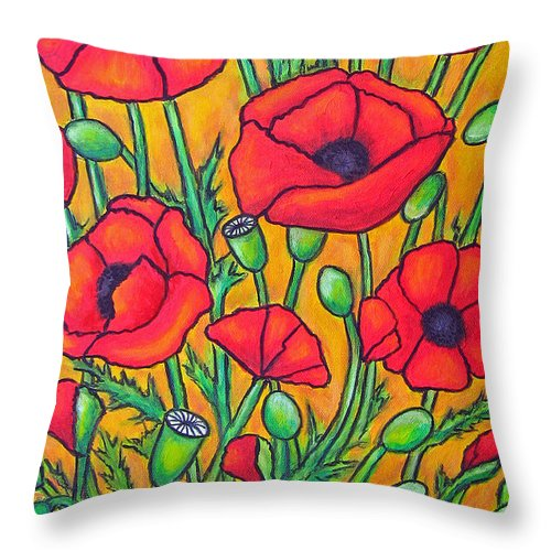 Poppies Throw Pillow featuring the painting Tuscan Poppies - Crop 2 by Lisa Lorenz