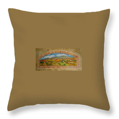 Mural Throw Pillow featuring the painting Tuscan Scene Brick Window by Anita Burgermeister