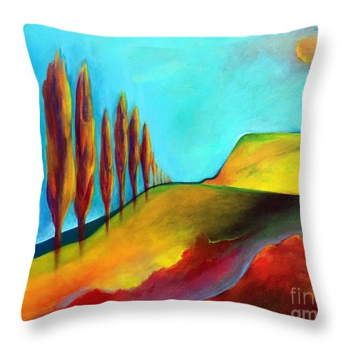 Landscape Throw Pillow featuring the painting Tuscan Sentinels by Elizabeth Fontaine-Barr