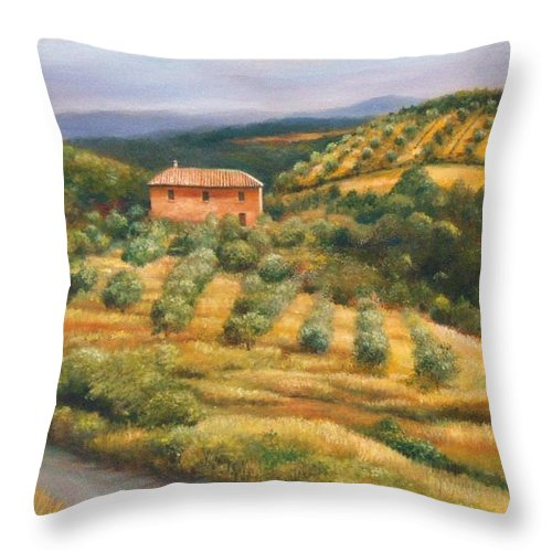 Landscape Throw Pillow featuring the painting Tuscan Summer by Ann Cockerill