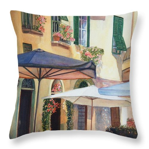 Tuscan Throw Pillow featuring the painting Tuscan Sunlight by Ann Cockerill