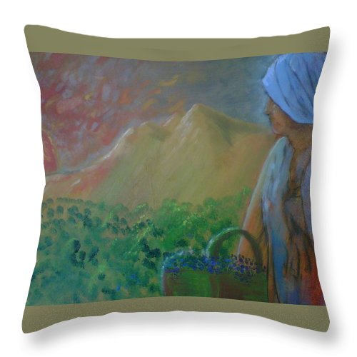 Sunset Throw Pillow featuring the painting Tuscan Sunset by J Bauer