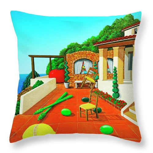 Tuscan Throw Pillow featuring the painting Tuscan Vacation by Snake Jagger