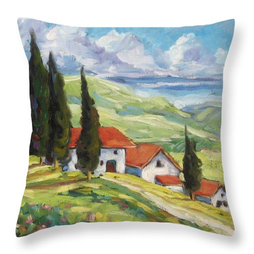 Tuscan Throw Pillow featuring the painting Tuscan Villas by Richard T Pranke