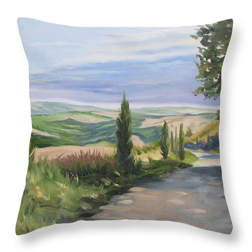Landscape Throw Pillow featuring the painting Tuscan Walk by Jay Johnson