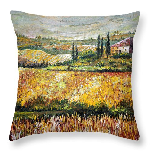 Lanscape Throw Pillow featuring the painting Tuscan Wheat by Lou Ann Bagnall