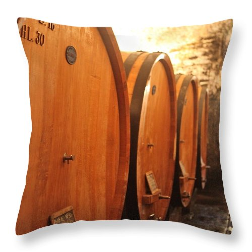 Wine Cellar Throw Pillow featuring the photograph Tuscan Wine Cellar by Nadine Rippelmeyer