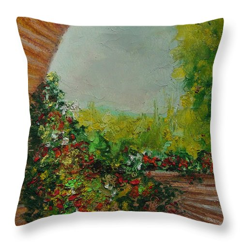 Beautiful Flowers Throw Pillow featuring the painting Tuscany 09 by Robin Miller-Bookhout