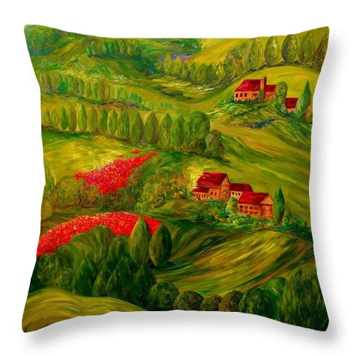 Tuscany Throw Pillow featuring the painting Tuscany At Dawn by Eloise Schneider Mote