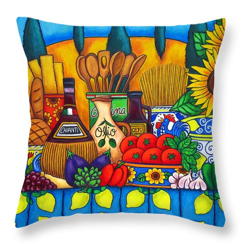 Still Life Throw Pillow featuring the painting Tuscany Delights by Lisa Lorenz