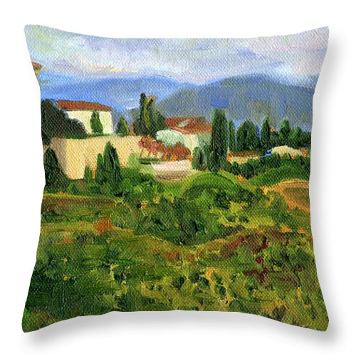 Landscape Throw Pillow featuring the painting Tuscany From Castello Di Verrazzano by Jennie Traill Schaeffer