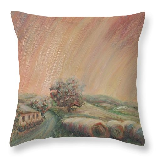 Landscape Throw Pillow featuring the painting Tuscany Hayfields by Nadine Rippelmeyer