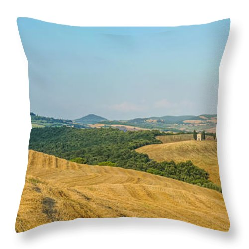Agriculture Throw Pillow featuring the photograph Tuscany Landscape With Rolling Hills At Sunset, Val D'orcia, Ita by JR Photography