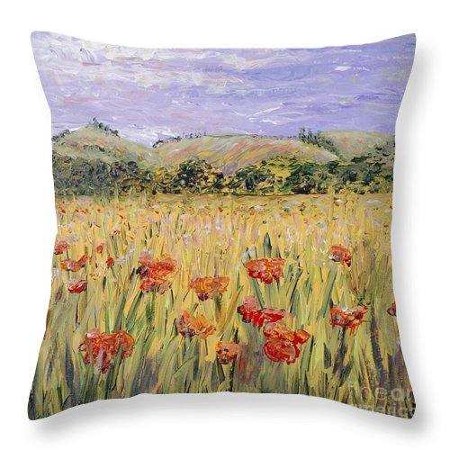 Poppies Throw Pillow featuring the painting Tuscany Poppies by Nadine Rippelmeyer